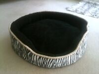 NEW Cat Bed with cushion in black & White print design