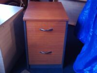 Two drawer wooden office pedestal / filing cabinet