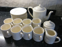 Marks & Spencer -Italian Collection 8 Piece Cups & Saucers with Teapot, Sugar pot and small Milk Jug
