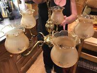 Brass 5 armed chandelier