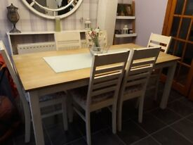 Table and six chairs shabby chic