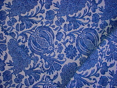 9+Y P KAUFMANN BEAUTIFUL BLUE IKAT COTTON PRINT UPHOLSTERY FABRIC