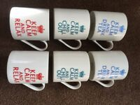 "Set of 6 ""Keep Calm"" mugs - dishwasher and microwave safe"