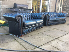 3+2 Anique blue leather checsterfields DELIVERY AVAILABLE