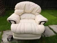 Cream leather swivel rocking chair