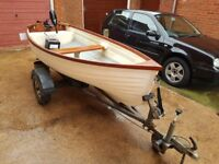 10' fibreglass boat with electric motor