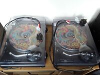 Pair of Technics SL 1210 MK2 + Slipmats + Technics Cartridge and Stylus + Lids (RECENTLY SERVICED)