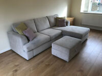 Stunning DFS Freya 4 Seater Chaise Sofa in Silver with Footstool - Immaculate Condition