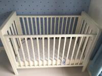 Mamas & Papas white Pebble cot with mattress.