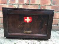 Lovely 1930s antique vintage medical boots chemist box cabinet plus contents.