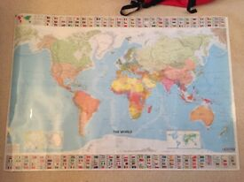 Large Laminated World Map for sale