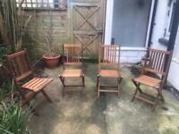 Superb Set Of Solid Teak Foldable Garden Chairs
