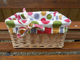 Storage basket with pretty fabric liner
