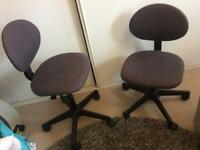 2 adjustable spinning office chairs