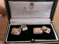 Asprey Silver and Yellow Gold Mens Cufflinks + case