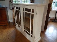 Side Dresser/Bookcase. Solid Pine painted cream.