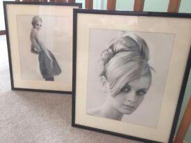 Set of framed B&W Twiggy gelatin photo prints. 1960's style icon fashion model.