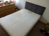 Double mattress - memory foam and pocket sprung, bed frame, and headboard