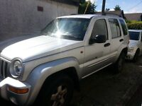 JEEP CHEROKEE 2.5 CRD LIMITED, 4X4, silver, 2002, diesel 140,000 miles, black leather interior