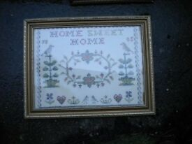 A HOME SWEET HOME 1985 SAMPLER SIGNED JB 24X18 INCHES