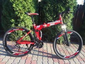 "Begasso Red Full Suspension Foldable 26"" New Boxed"
