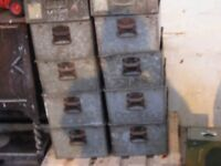 vintage industrial stacking storage containers for sale
