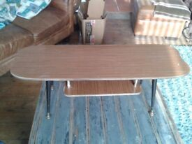 Vintage Side table, Formica top with Formica magazine rack.