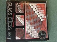 Glass Chess Set 1980's in original box, unused