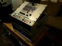 Dj cd mixer amp package flight cased