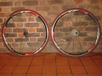 Rodi 4 Airline road race wheelset wheels 700c pair complete tyres tubes red/white/black