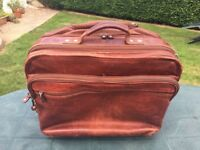 Wilsons leather hand crafted dark tan leather brief case cone hold-all