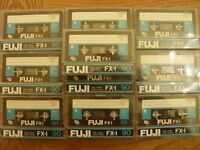 10 FUJI FX-I C90 Ferric cassettes - recorded once, now blank & ready to record