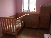 Mothercare Cotbed, Tallboy & Changer Drawer Set (+ Pooh tiebacks, bumper, cot tidy & nappy stacker)