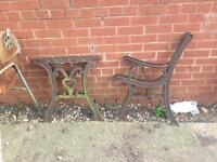 2 Cast Iron Bench Ends and 2 Cast Iron Table Legs