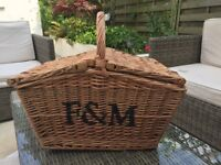 F&M large wicker picnic basket