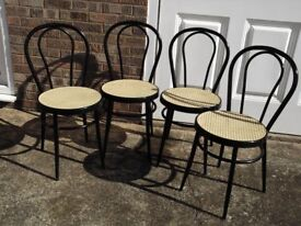 Four Modern Andy Thornton metal frame rattan mattan kitchen chairs
