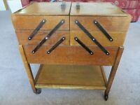 Large 1950's Wooden Cantilever Sewing / Craft Box