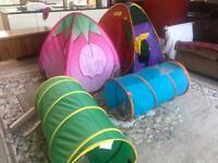 Kids ELC Pop up Tent x 2 & 2 Tunnels VGC