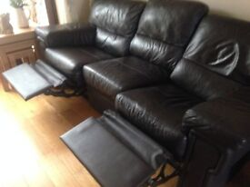For Sale Chocolate Brown Leather recliner 3 seater sofa with matching recliner armchair.