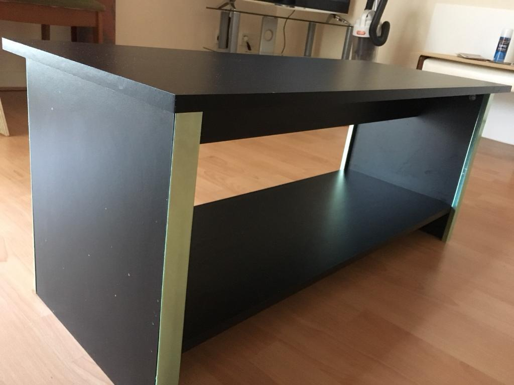 Black Table with Silver Trim
