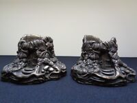 Rare And Highly Collectible Charming Pair of Mouse House Candle Holders From PenDelfin Metallion