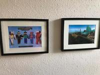2 framed Minecraft pictures