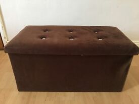 Large Velvet with Diamonte Buttons Ottoman Pouffe Storage Footstool Toy Box in Brown