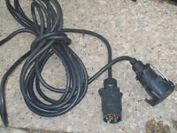 7 pin trailer electrics extension cable lead 12N plug socket 6M long light board towing