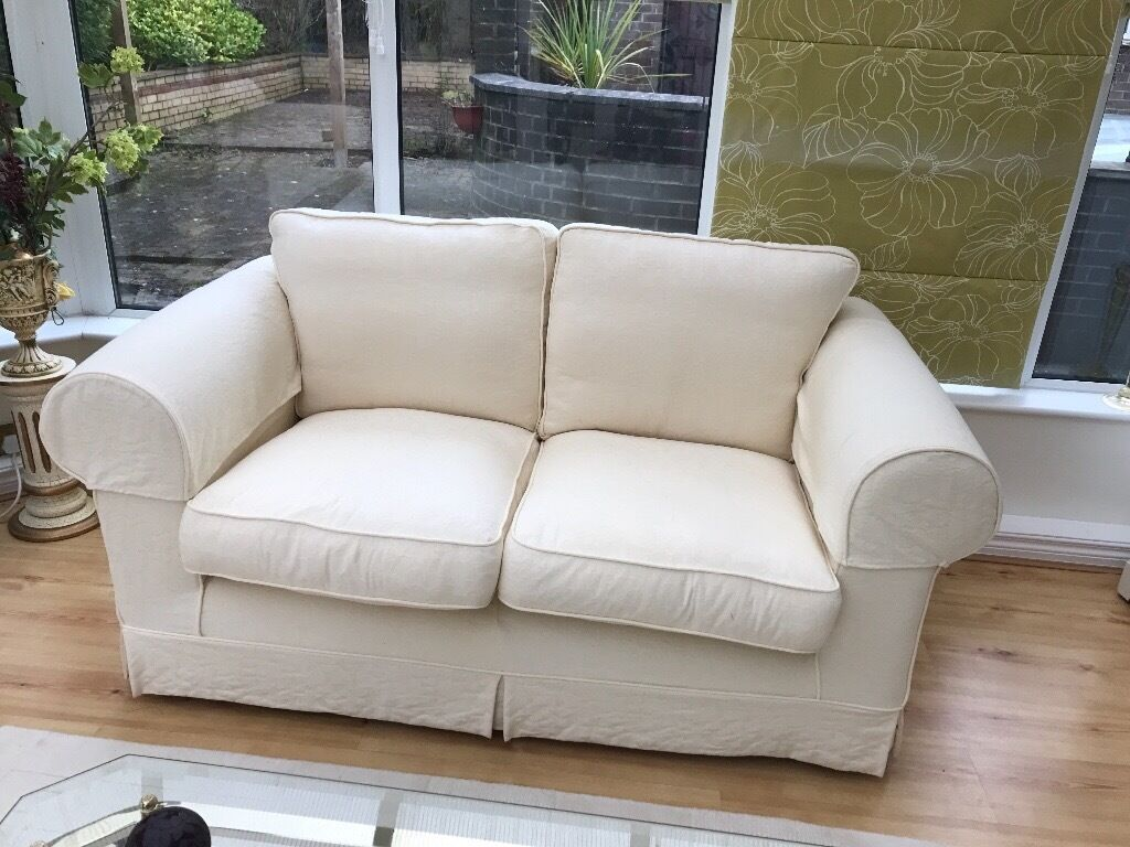 2 x sofas 1 x 3 seater 1 x 2 seater cream loose covers in chester le street county durham. Black Bedroom Furniture Sets. Home Design Ideas