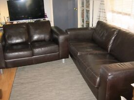 2 IKEA BROWN HEAVY DUTY LEATHER COUCHES, COMFORTABLE WELL MADE GOOD CONDITION ZIP OFF COVERS