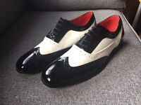 Mens 'Gangster' Style Black and White Patent Brogues - Size 10