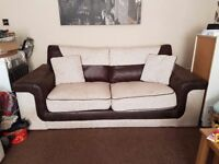 3&2 Seater Designer Oatmeal and Brown Sofas