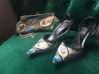Sequinned size 5/38 shoes and matching bag in good condition