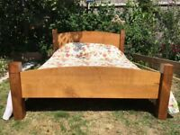 Beautiful hand made oak and mahogany king size double bed, with or without dunlopillo mattress